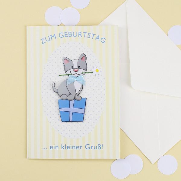 3D Grußkarte mit süßer Katze zum Geburtstag