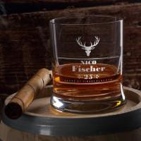 graviertes Whiskyglas Hirsch mit Wunschname und Alter
