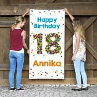 XL Banner zum 18. Geburtstag mit großer Konfettizahl, Name und Wunschtext