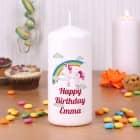Einhorn Kerze mit Wunschtext