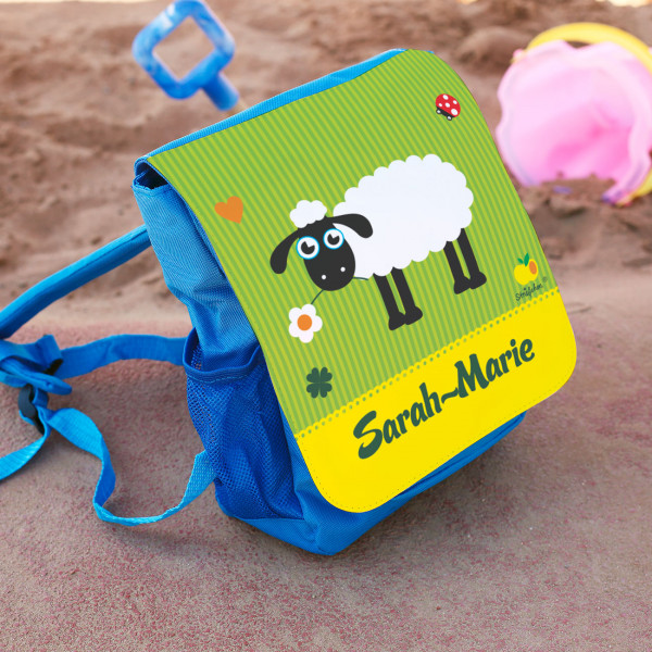 Kinderrucksack mit niedlichem Schaf und Namensaufdruck