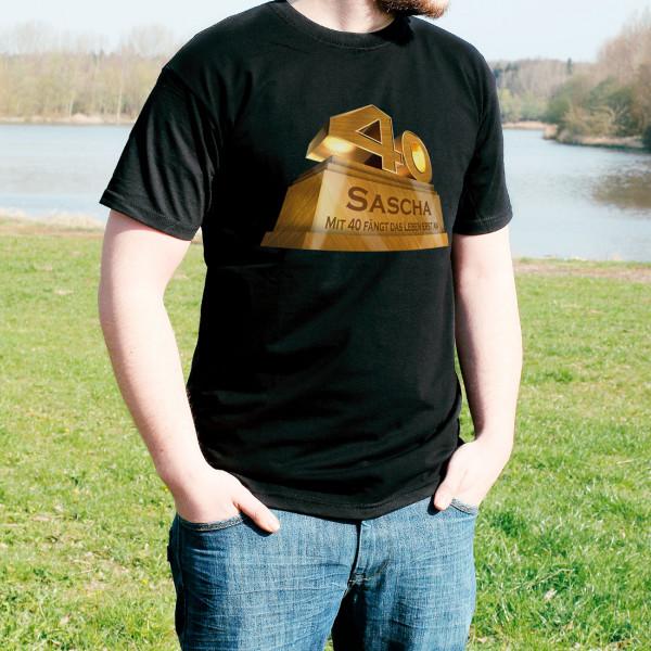 Schwarzes T-Shirt zum 40. Geburtstag