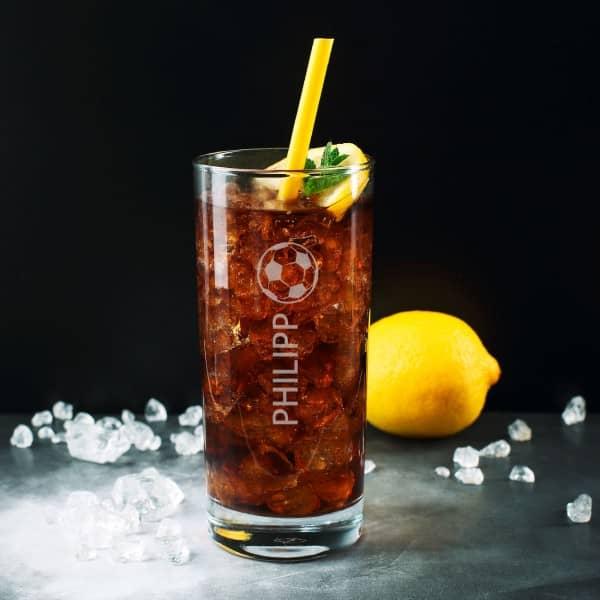 Trinkglas mit Namensgravur Fußball
