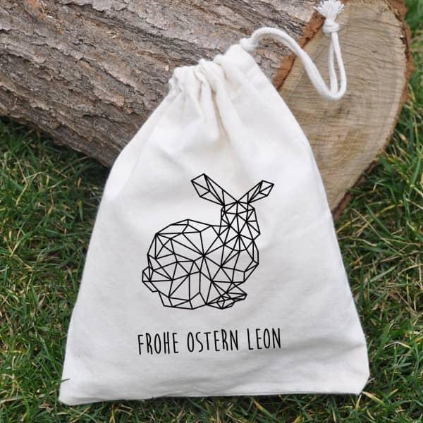 Geschenkverpackung - kleiner Baumwollsack mit polygonalem Hasen und Wunschtext