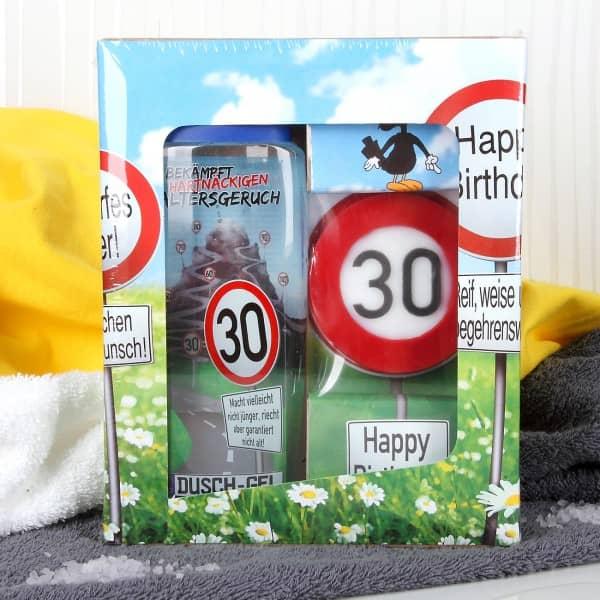 lustiges Geburtstagsgeschenk Badset Verkehrszeichen zum 30. Geburtstag