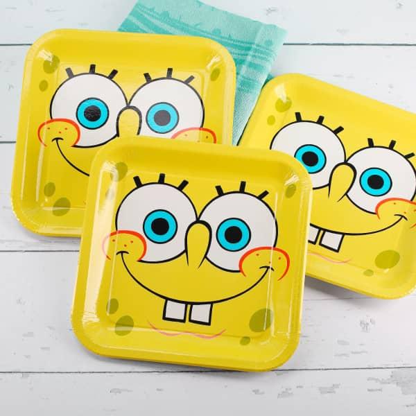 8 Pappteller Spongebob Schwammkopf quadratisch