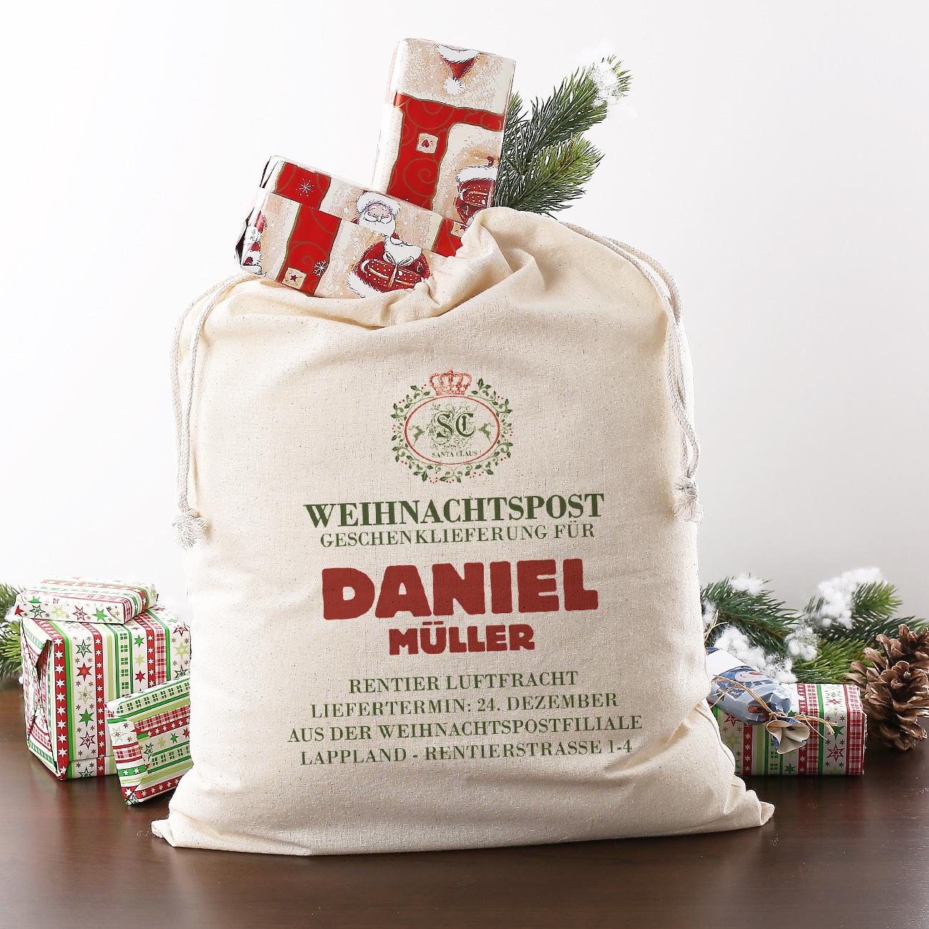 geschenksack aus der weihnachtspost filiale mit ihrem. Black Bedroom Furniture Sets. Home Design Ideas