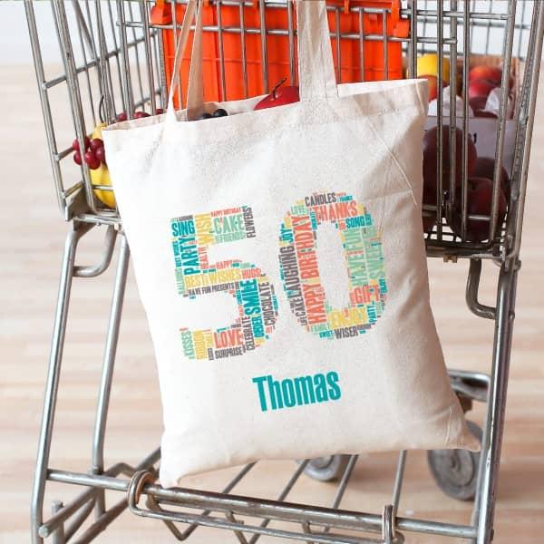 Baumwollbeutel mit Wunschnamen zum 50. Geburtstag