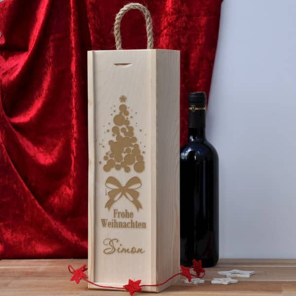 Frohe Weihnachten - Flaschenverpackung aus Holz mit Gravur