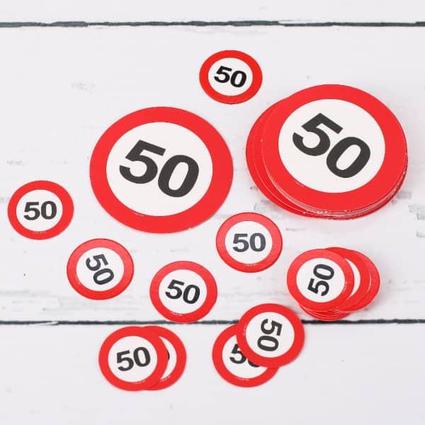 Tischkonfetti XL Verkehrsschilder 50