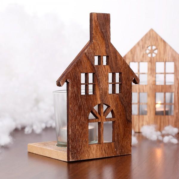 holzhaus mit teelichthalter aus glas und halbrunden fenster. Black Bedroom Furniture Sets. Home Design Ideas