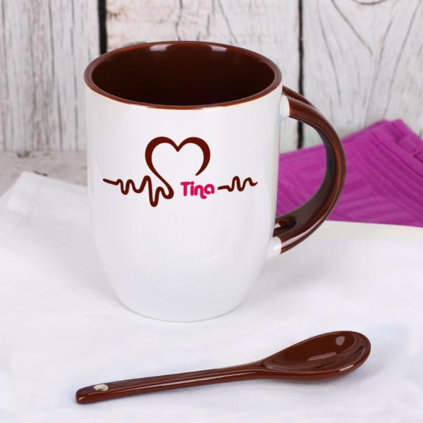 Individuellküchenzubehör - Herzschlag Tasse mit Löffel und Name - Onlineshop Geschenke online.de