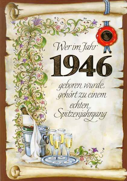 Geburtstagskarte für den Spitzenjahrgang 1946 im A4 Format