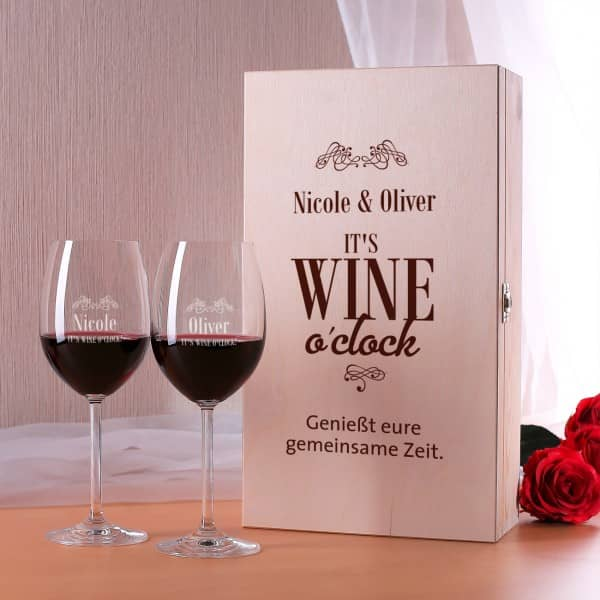 Holzbox wine o´clock