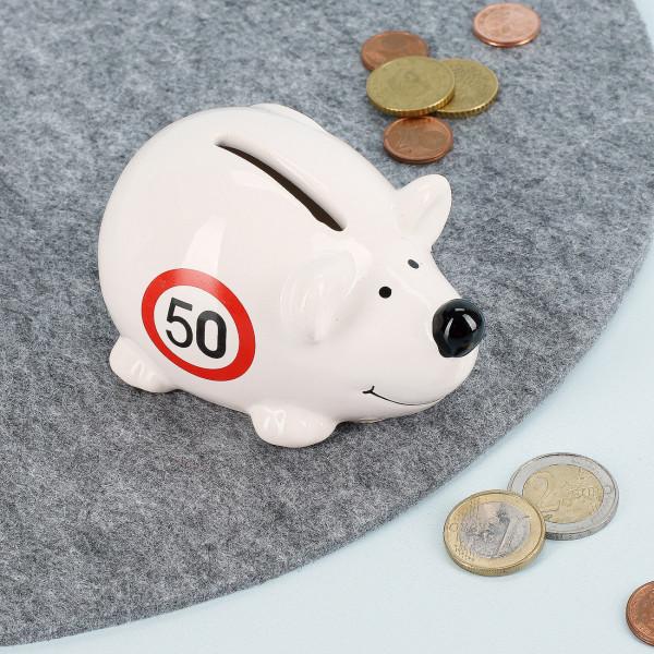 Kleine Spar-Maus in weiß zum 50. Geburtstag