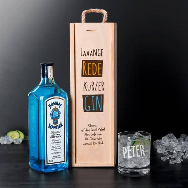 Bombay Gin Mit Graviertem Glas In Bedruckter Holzbox Als Geschenk Set