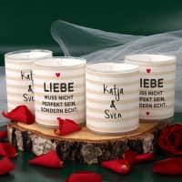 4 Set Kerzen - Liebe muss echt sein - mit Namensaufdruck