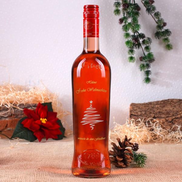 Weinflasche mit Gravur zu Weihnachten, Tannenbaum Motiv