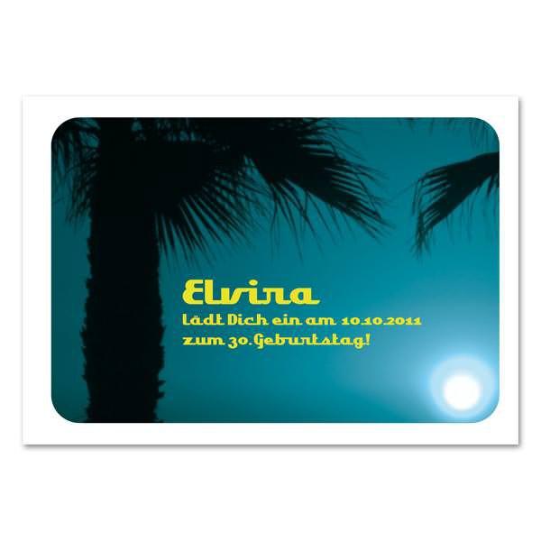 Einladungskarte mit Palmen und Wunschtext
