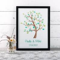Bilderrahmen Baum mit Fingerabdrücken als Geschenk zur Hochzeit