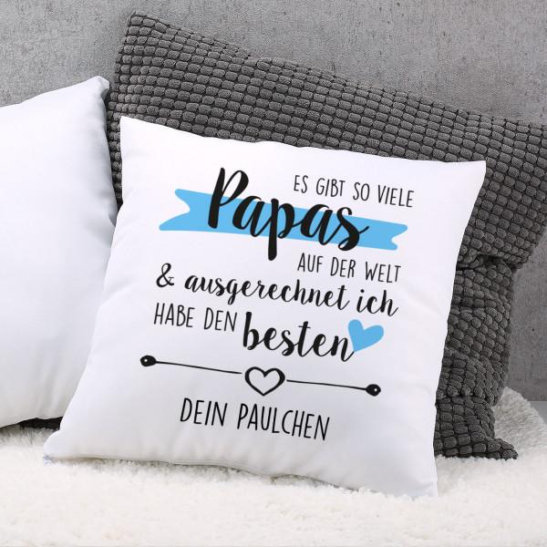 Gemütliches Kissen zum Vatertag mit Ihrem Wunschtext bedruckt