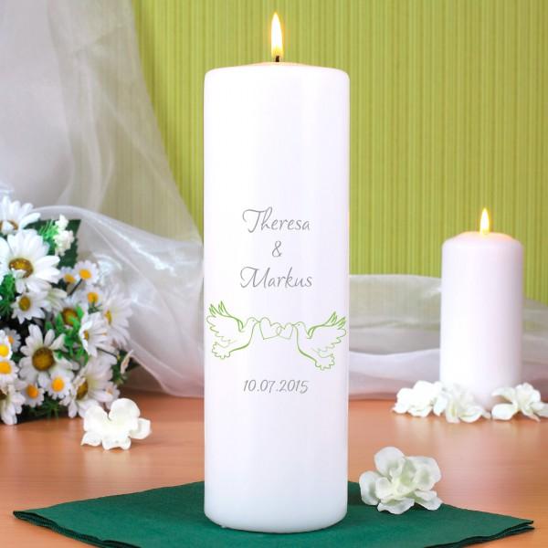 Hochzeitskerze mit Taubenmotiv bedruckt