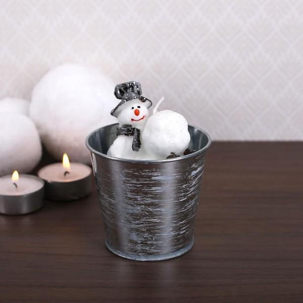 Kerze im Metalltopf - Schneemann mit Hut