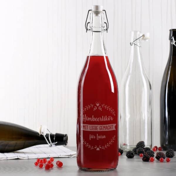 Bügelflasche mit Gravur