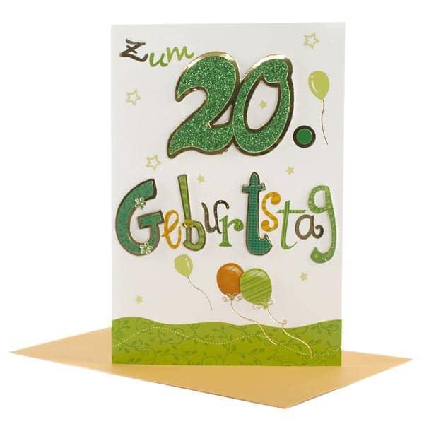 Grüne Grußkarte zum 20. Geburtstag mit Glitzer