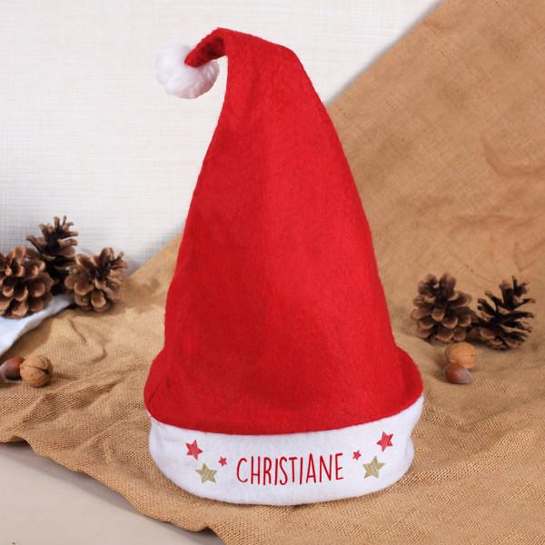 Individuellbekleidung - Weihnachtsmütze mit Namensaufdruck und Sternchen - Onlineshop Geschenke online.de