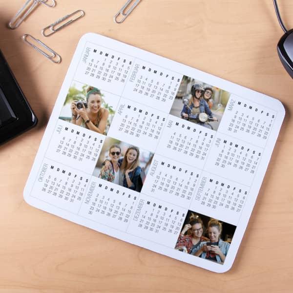 Mousepad mit 4 Fotos und Kalender bedruckt