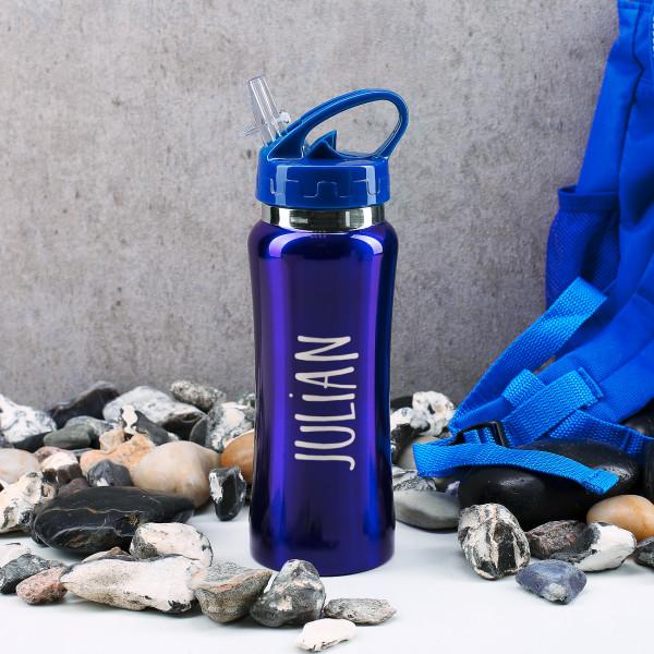 Blaue Trinkflasche aus Edelstahl mit Schnellverschluss und graviertem Namen