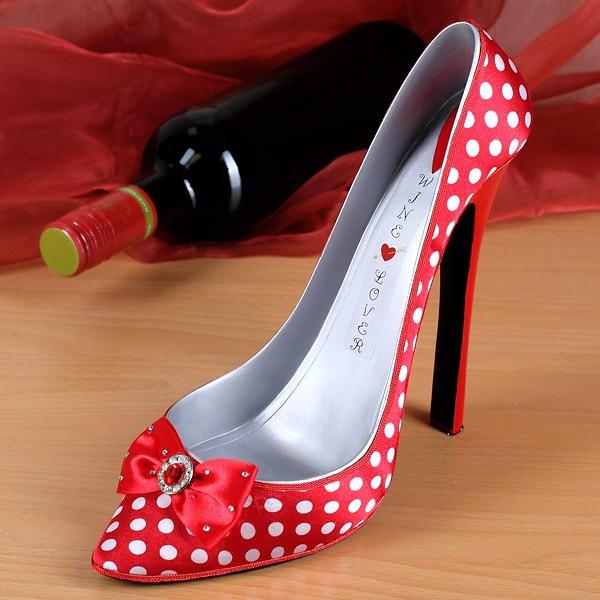 Flaschenhalter High Heel in Rot mit Weißen Punkten