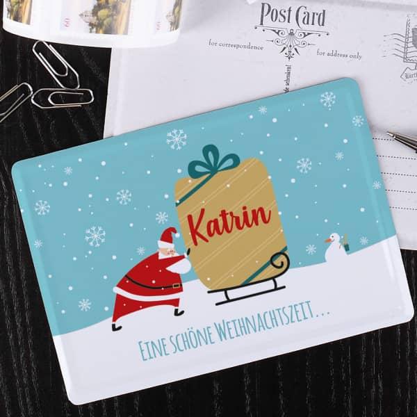 Weihnachtspostkarte aus Metall mit Ihrem Wunschnamen und Text