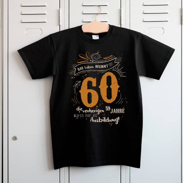 Das Leben beginnt mit 60 T Shirt zum Geburtstag