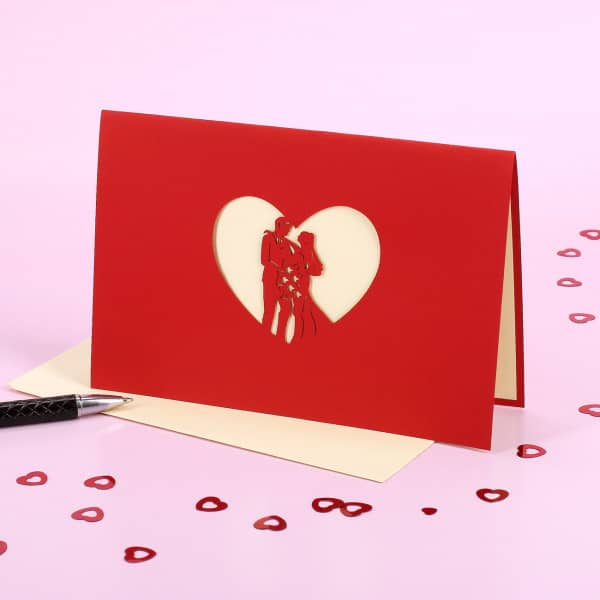 Rote Pop-Up-Karte zur Hochzeit
