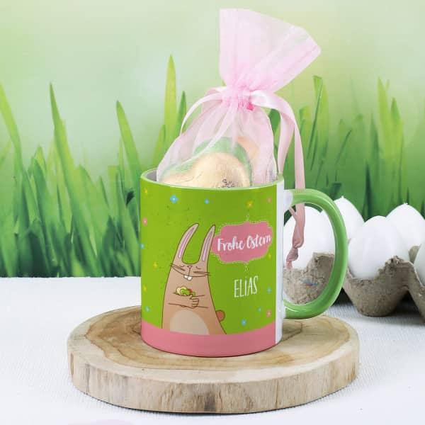 Individuellküchenzubehör - Frohe Ostern Tasse mit 4 Lindt Schokoladenherzen - Onlineshop Geschenke online.de