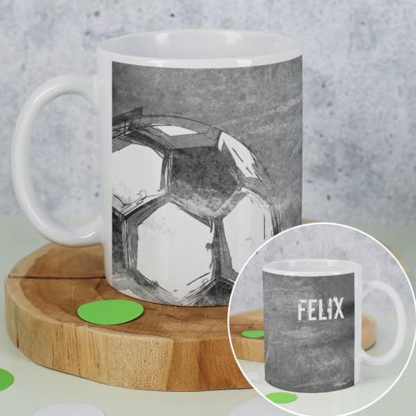 Graue Fußball Tasse mit Rundum-Druck