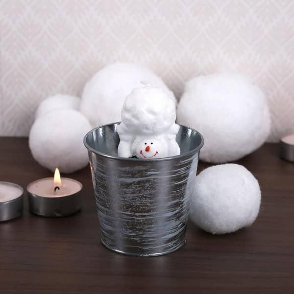 Kerze im Metalltopf - Schneemann mit Schneekugel
