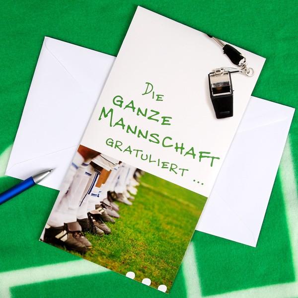 Maxi Pop up Karte Die ganze Mannschaft gratuliert...