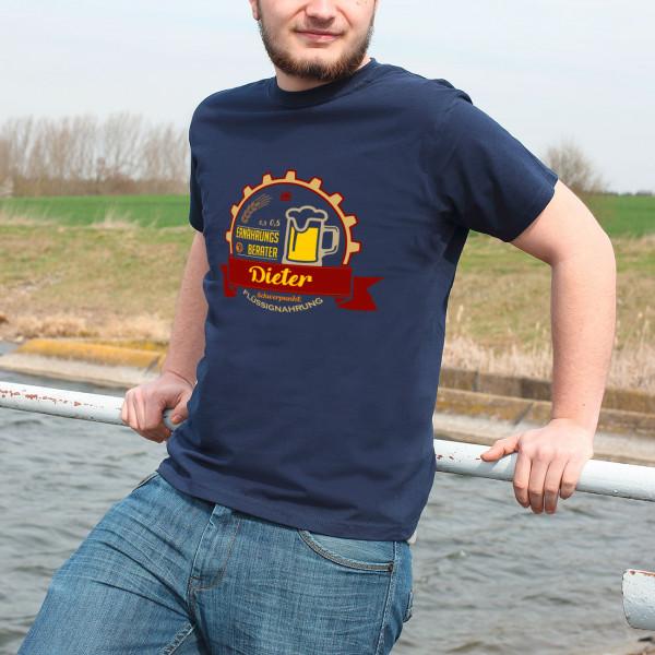 Herrenshirt Navy Ernährungsberater Flüssignahrung Bier