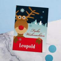 Persönliche Weihnachtspostkarte mit Elch