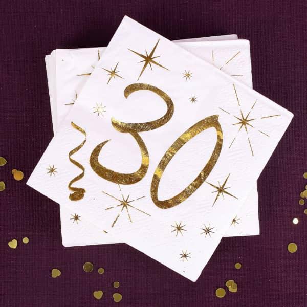 Servietten in Gold-Metallic zum 30. Geburtstag