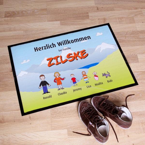 Personalisierter Fußabtreter Familie im Urlaub