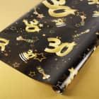 Geschenkpapier zum 30. Geburtstag schwarz/gold