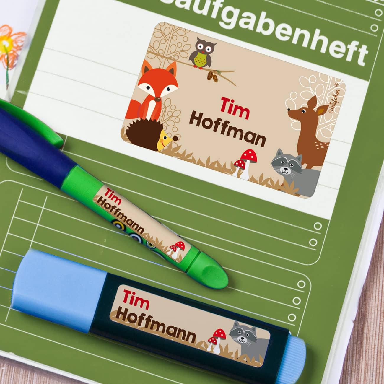 Schulheftaufkleber Namensetiketten Buchetiketten  lustige Tiersticker
