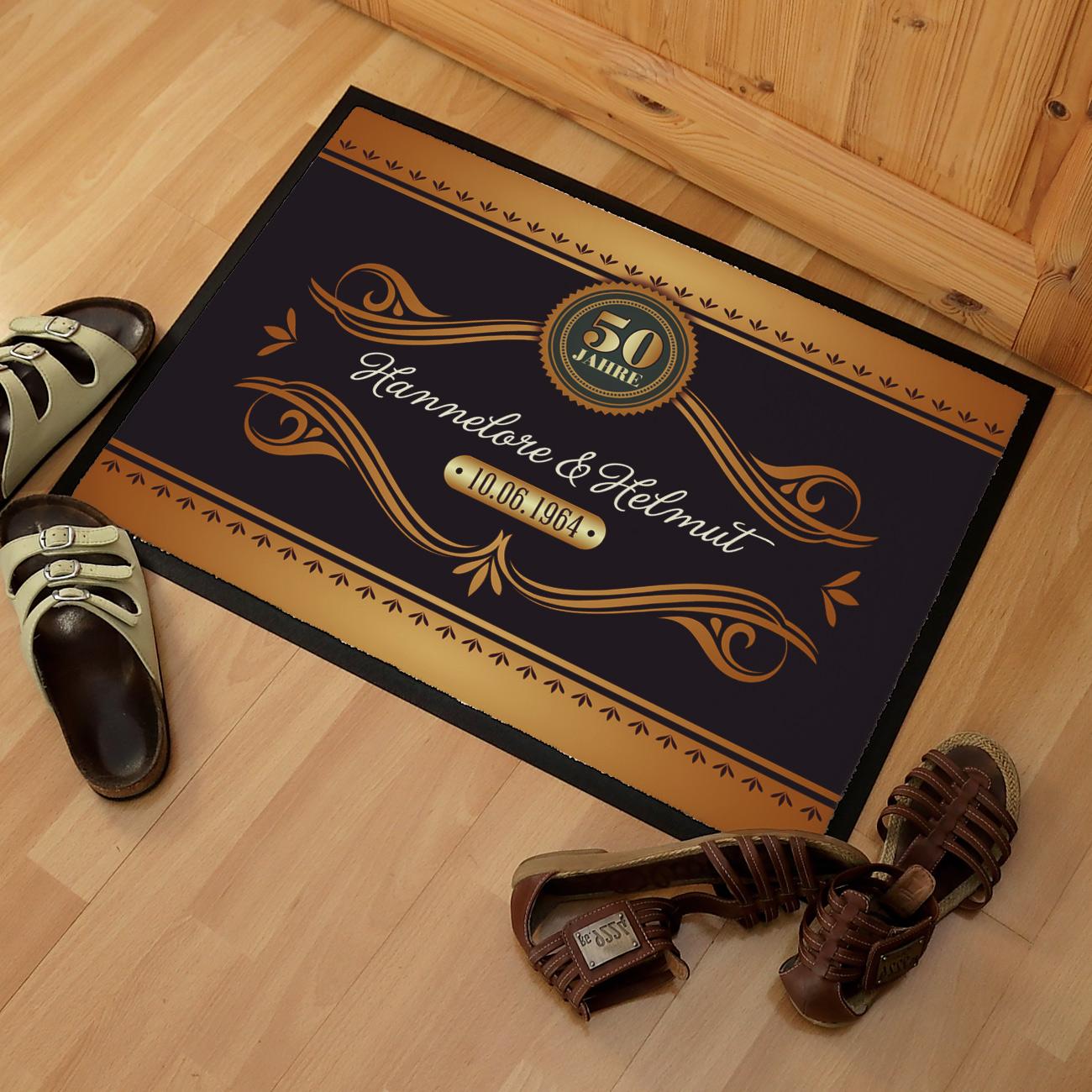 pers nliche fu matte zur goldenen hochzeit geschenke. Black Bedroom Furniture Sets. Home Design Ideas