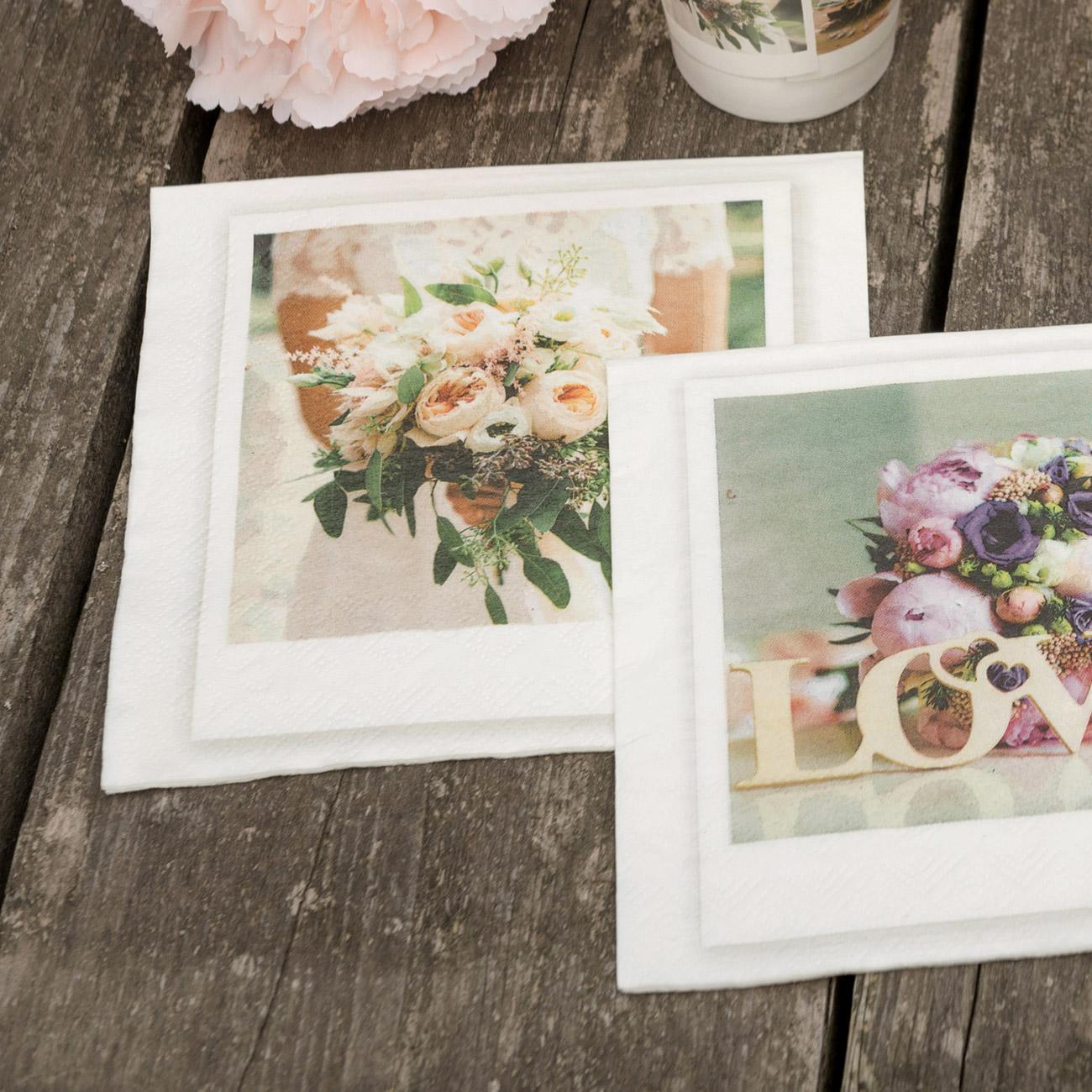 Servietten Love Mit Blumenstrauß Zur Hochzeit