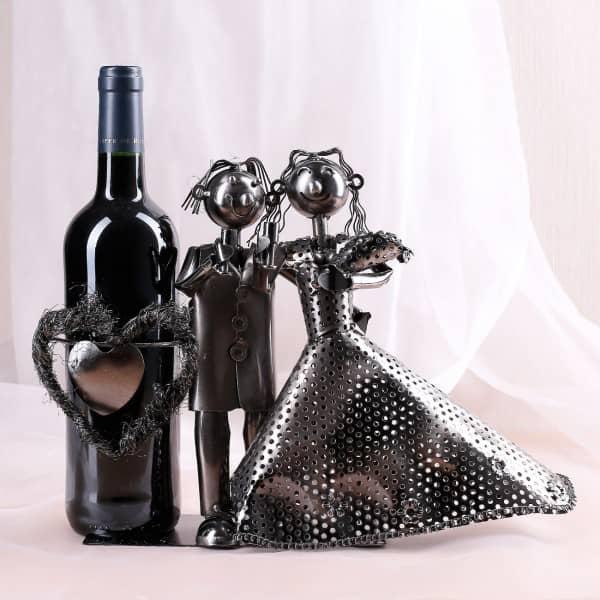 Flaschenhalter Brautpaar aus Metall