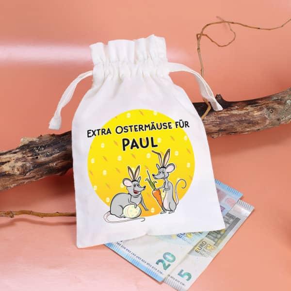 Geldgeschenk mit Ostermäusen und Ihrem Wunschnamen